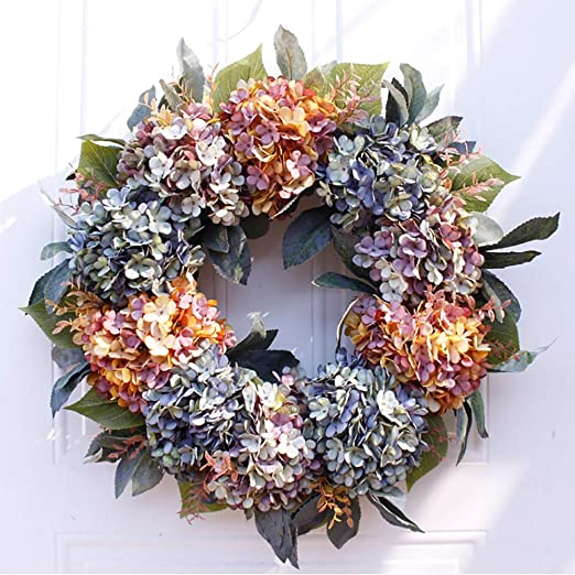 Hydrangea Wreaths For Front Door Outdoor Summer Wreaths For Front Door Fall Spring Handmade Hello Wreath For Front Door Farmhouse Wreath Rustic Wreath Amazon Co Uk Kitchen Home