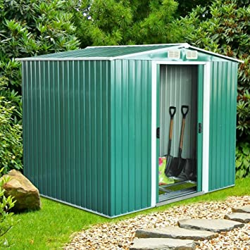 BAKAJI Casita Box ripostiglio para Herramientas de jardín de Chapa galvanizada de Acero 260 x 205