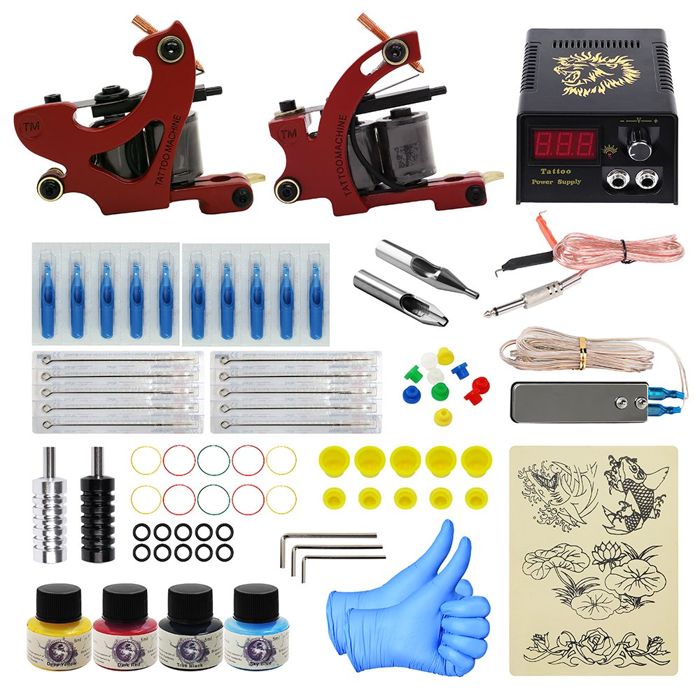 ITATOO Complete Tattoo Kit for Beginners Tattoo Power Supply Kit 4 Tattoo Inks 10 Tattoo Needles 2 Pro Tattoo Machine Kit Tattoo Supplies PX110012