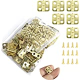 Juland 50 Pieces Mini Hinges Retro Hinges with 200 Pieces Screws for Wooden Box Jewelry Chest Box Cabinet DIY…