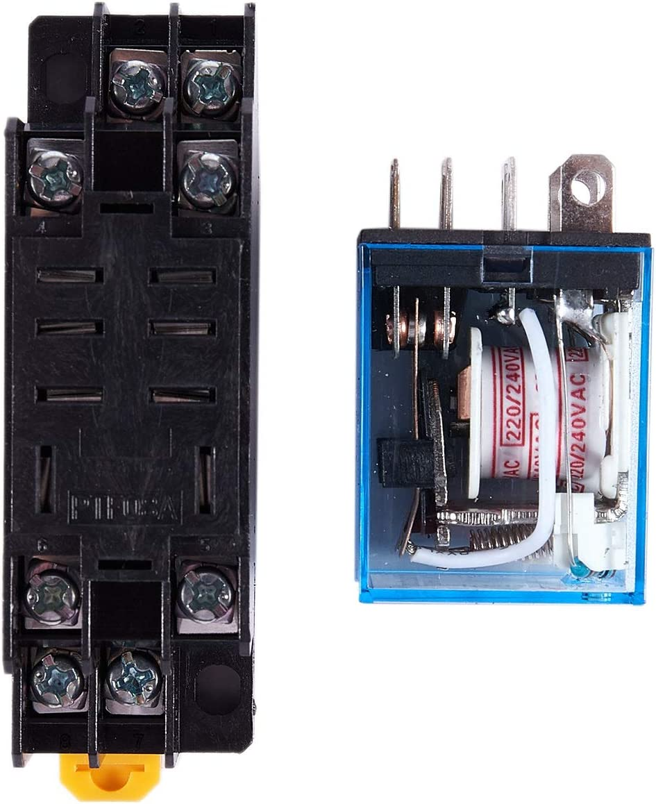 Tmand Tmand LY2NJ HH62P-L JQX-13F 220V AC Coil DPDT Power Relais 8 Pin mit PTF08A Sockel R