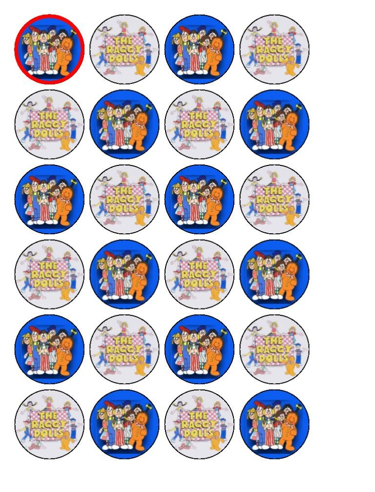 24 x The Raggy Dolls Edible Cupcake Toppers