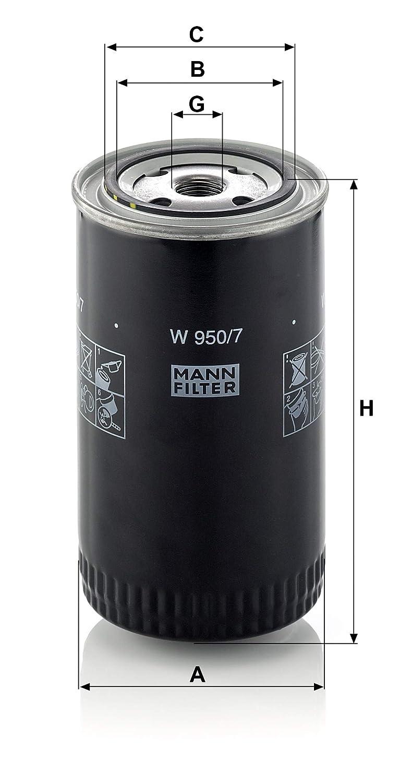 MANN-FILTER Original Filtro de Aceite W 950/7 – Para transportadoras camiones y vehículos de utilidad