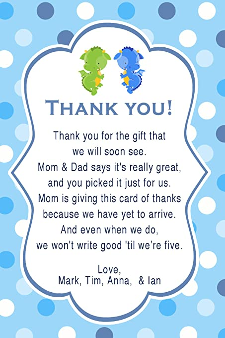 Amazon 30 Thank You Cards Notes Twin Boys Dragon Birthday Baby