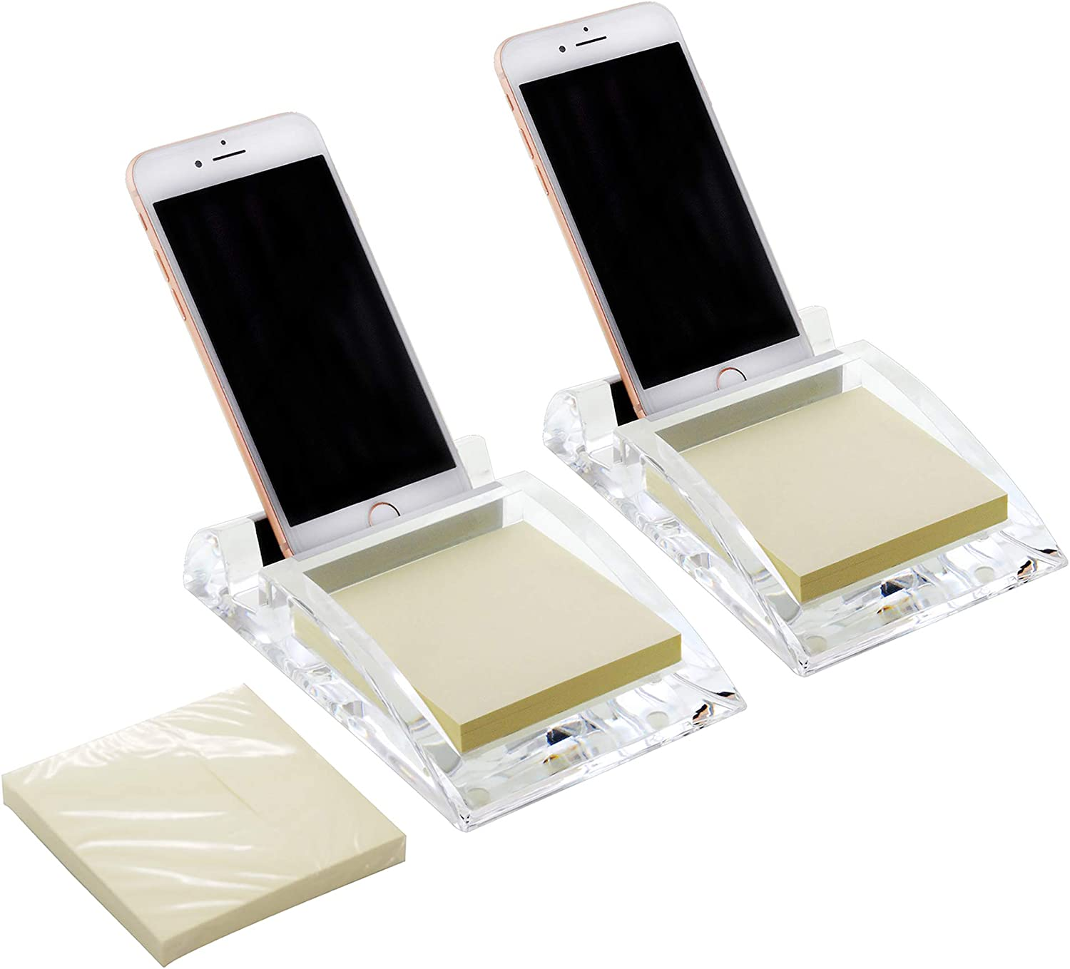 COM.TOP - Acrylic Desk Phone Stand with 3 x 3 Memo Pad,Phone Holder, Office Supplies, Stationery Organizer, Desk Accessories - Clear, 2 Pack (Includes 3 Memo Note)