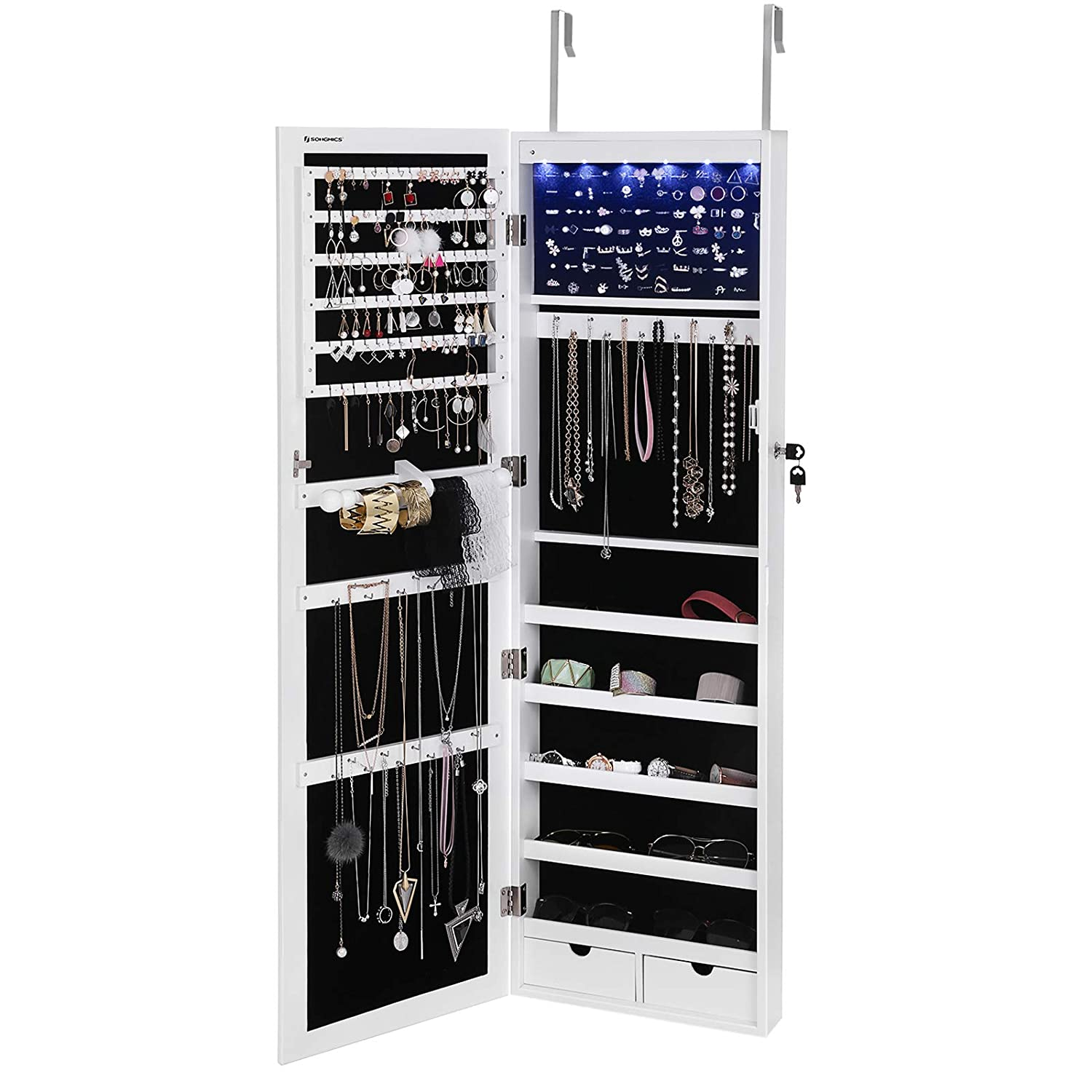 Songmics 6 LEDs Jewelry Armoire Organizer