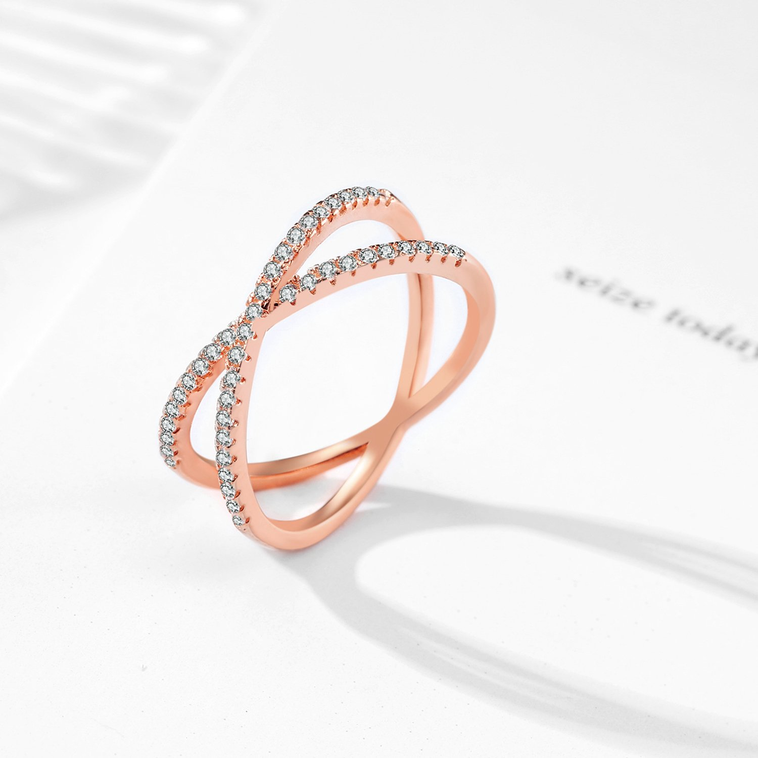 X Ring Sterling Silver, Cubic Zirconia X Criss Cross Ring Women, Size 6-8 (Rose-Gold-Plated-Silver, 7) by SISGEM (Image #4)