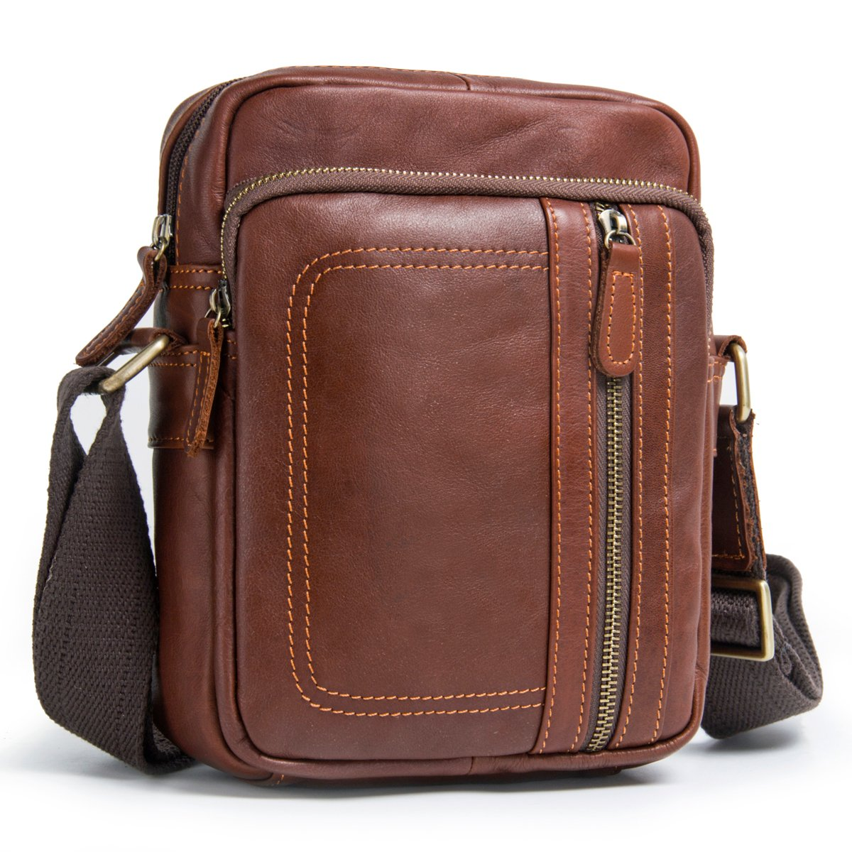 Contacts Real Leather Mens iPad Messenger CrossBody Bag Travel Working Tab Handbag (Brown)