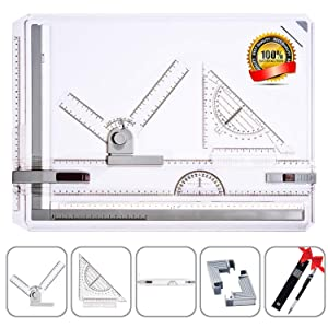 Frylr Metric A3 Drawing Board Drafting Table Multifunctional Drawing Board Table with Clear Rule Parallel Motion and Angle Adjustable Measuring System