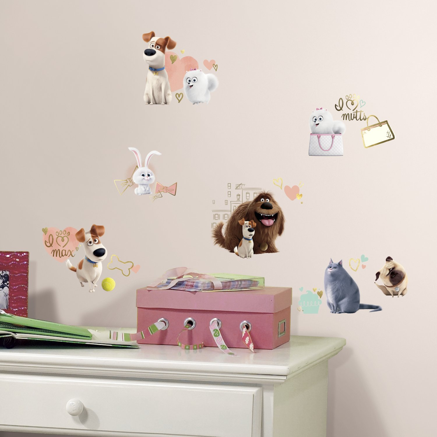 Roommates RMK3198SCS Secret Life Of Pets Girls Peel U0026 Stick Wall Decals,      Amazon.com Part 87
