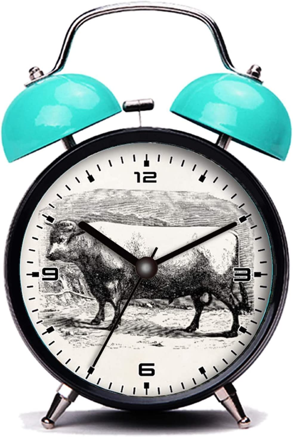 Nette Katze Jahrgang Durham Bull Kuh personalisierte K/ühe Rinder es Twin Bell Wecker mit Nachtlicht girlsight Blauer Wecker