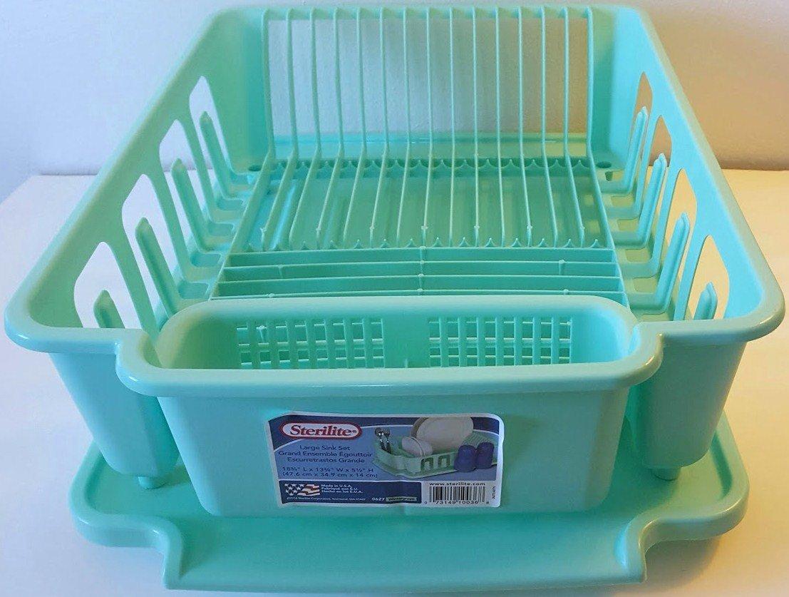 Sterilite 2-piece Large Sink Set Dish Rack Drainer, (18 3/4 L x 13 3/4 W x 5 1/2 H) (Wintergreen)