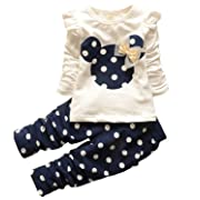 Baby Girl Clothes Infant Outfits Set 2 Pieces Cute Toddler Long Sleeved Tops + Pants(3-6 Months,Blue)