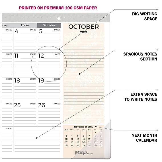Amazon.com: Calendario de escritorio 2019-2020 de 18 meses ...