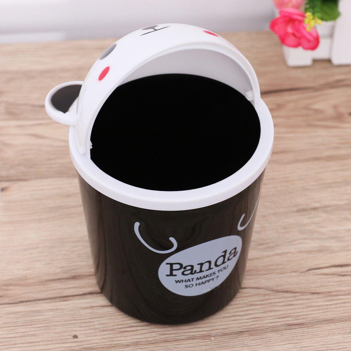 Panda nero TOYMYTOY Mini Cestino Scrivania a Forma di Cartone Animal Gettacarte Pattumiera Carta Portarifiuti da Tavolo