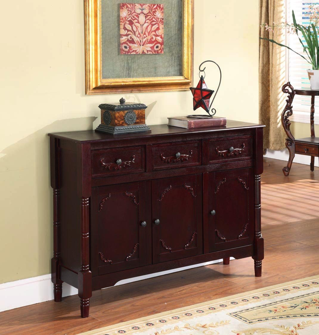 King's Brand R1021 Wood Console Sideboard Table with Drawers and Storage - Cherry Finish