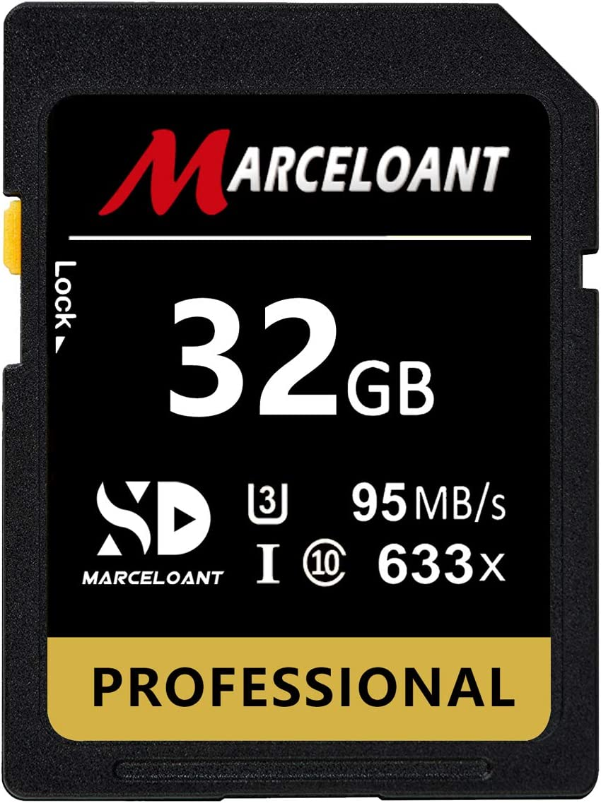 32GB Memory Card, Marceloant Professional 633 x Class 10 UHS-I U3 Memory Card for Computer Cameras and Camcorders, Memory Card Up to 95MB/s, Yellow/Black (32Gb)