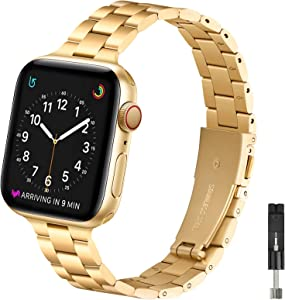 OMIU Thin Band Compatible with Apple Watch 40mm 38mm 42mm 44mm, Premium Stainless Steel Metal Replacement Adjustable Wristband Strap for iWatch Series 6/5/4/3/2/1 SE Women Men