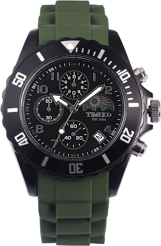 Time100 Reloj Pulsera para Hombre y Mujer de la Correa de Silicona Color Negro Reloj Ocio de Moda con multifunciones Reloj Deporte