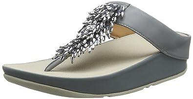 583d6df82c1 Fitflop Women s Rumba Tm Toe-Thong Sandals Crystal Open  Amazon.co ...