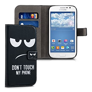 kwmobile Funda para Samsung Galaxy Grand Neo - Carcasa de Cuero sintético con diseño Dont Touch my Phone - Case con Tarjetero