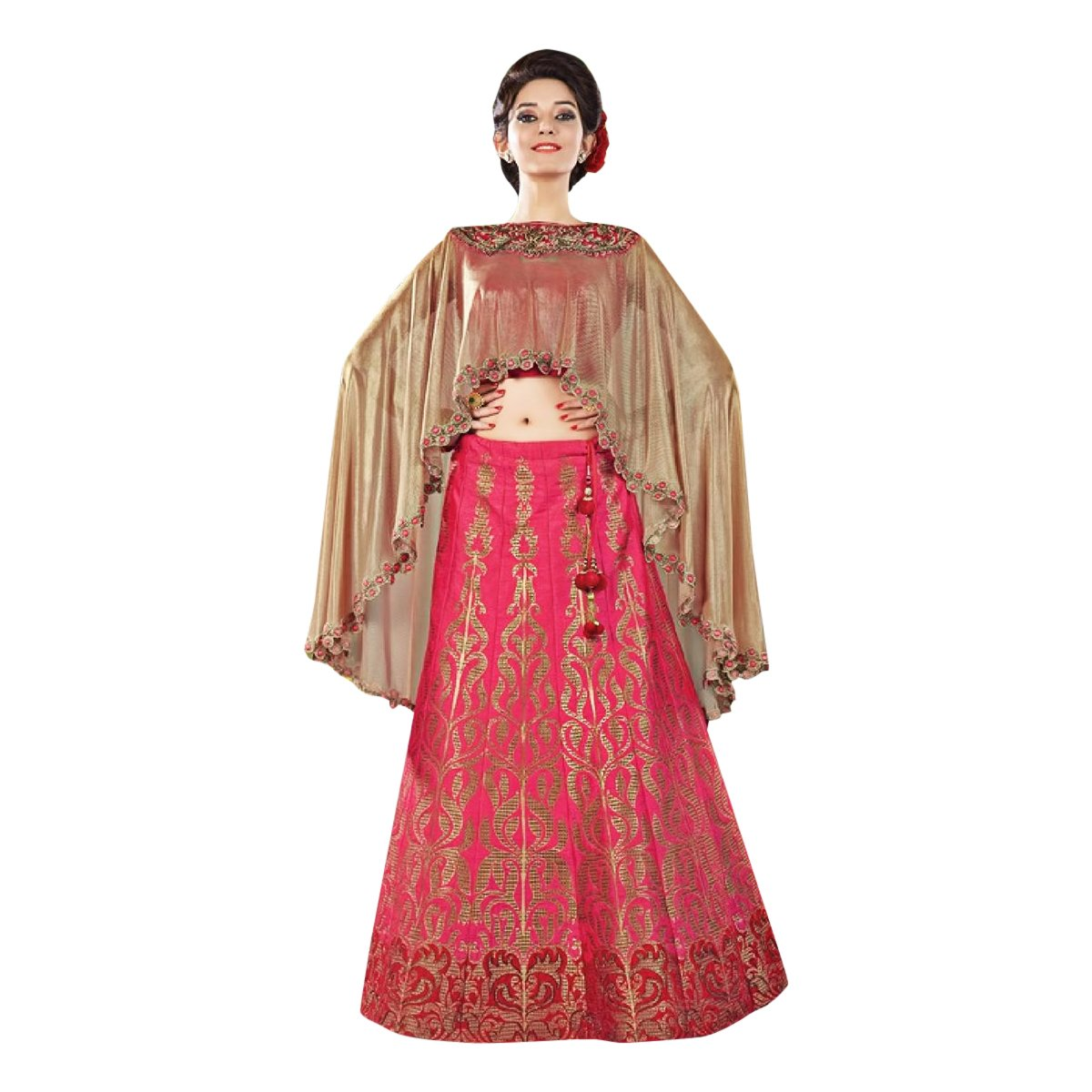 Cape Bollywood Women Lehenga Choli Dupatta Ceremony Bridal Wedding Women Blouse Collection 618 4