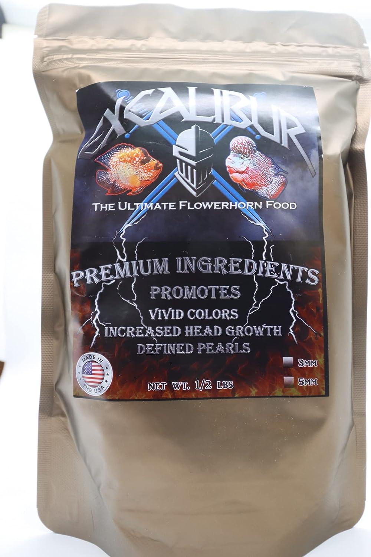 Excalibur Premium FLOWERHORN Fish Food Cichlid Food Floating 5MM PELLETS All Natural, Half Pound Bag.