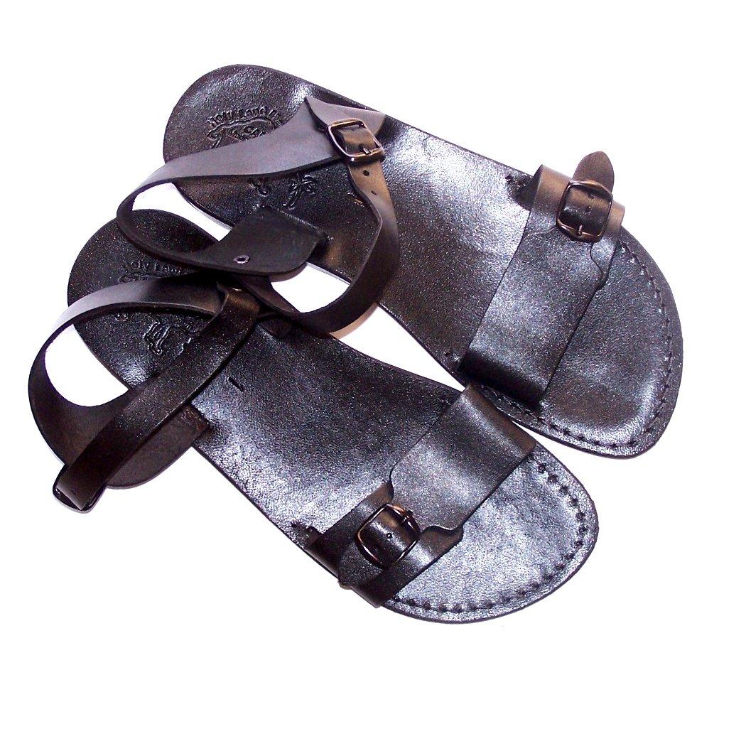 Holy Land Market Unisex Leather Biblical Sandals (Jesus - Yashua) Jerusalem Black Style - EU 46