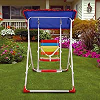 Kurtzy Baby's Steel Framed Swings with Roof Canopy Tent, 78x105x115cm (Multicolour)