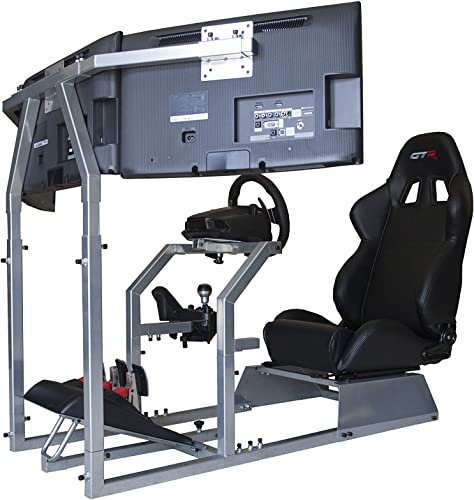 GTR Simulator – GTA-F Model Racing Simulator Triple or Single Monitor Stand with Adjustable Leatherette Seat, Racing Simulator Cockpit Gaming Chair Single Monitor Stand