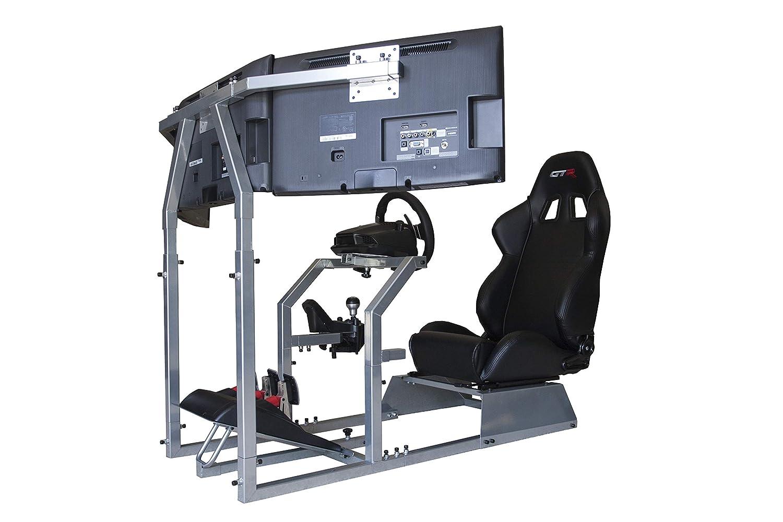 GTR Simulator – GTA-F Model Racing Simulator Triple or Single Monitor Stand with Adjustable Leatherette Seat, Racing Simulator Cockpit Gaming Chair Single Monitor Stand