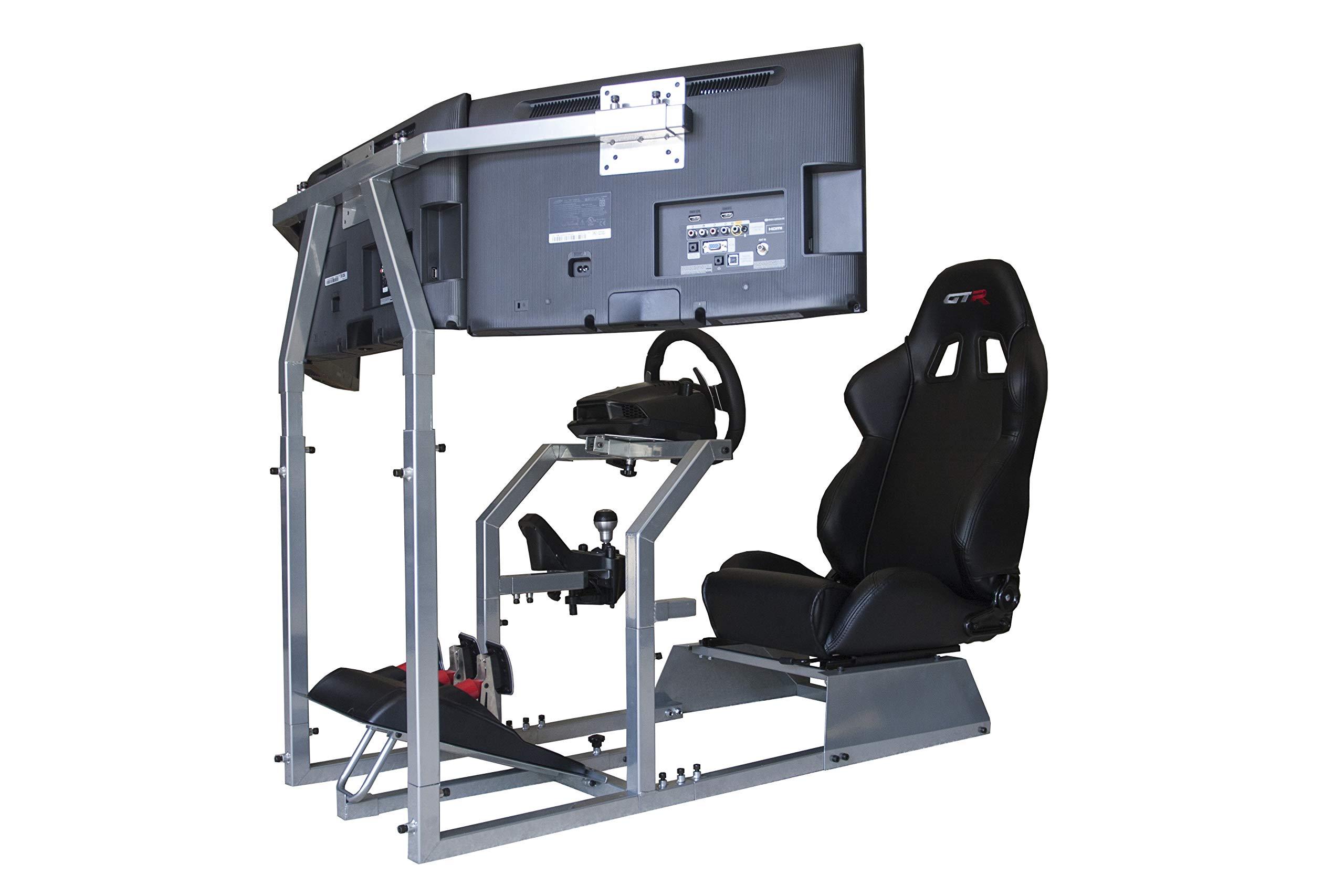 GTR Simulator - GTA-F Model Racing Simulator Triple or Single Monitor Stand with Adjustable Leatherette Seat, Racing Simulator Cockpit Gaming Chair Single Monitor Stand by GTR Simulator