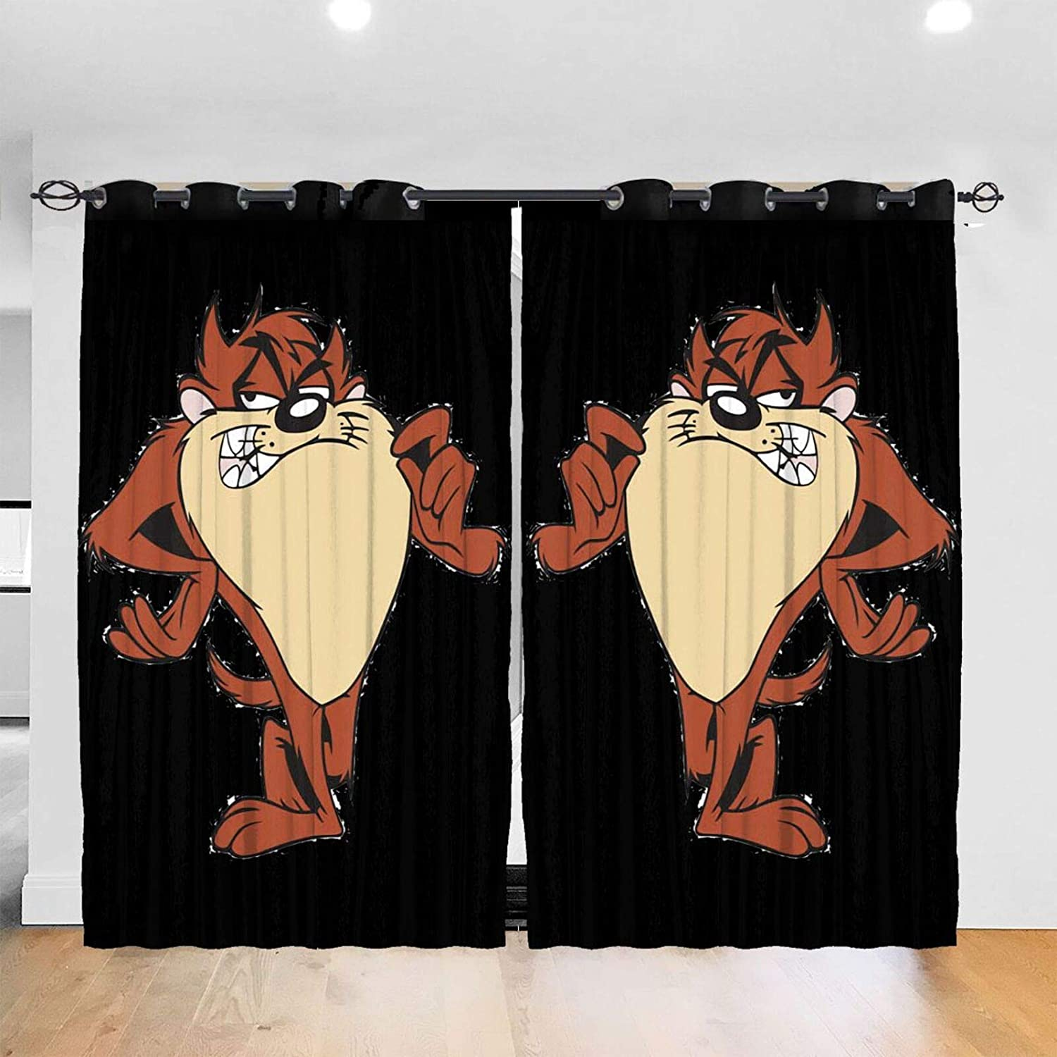 SuperDuo Loo-Neytunes Tas-Manian Devil Taz Blackout Window Curtains Thermal Insulated Room Darkening Drape for Bedroom Living Room 52 X 72 Inch
