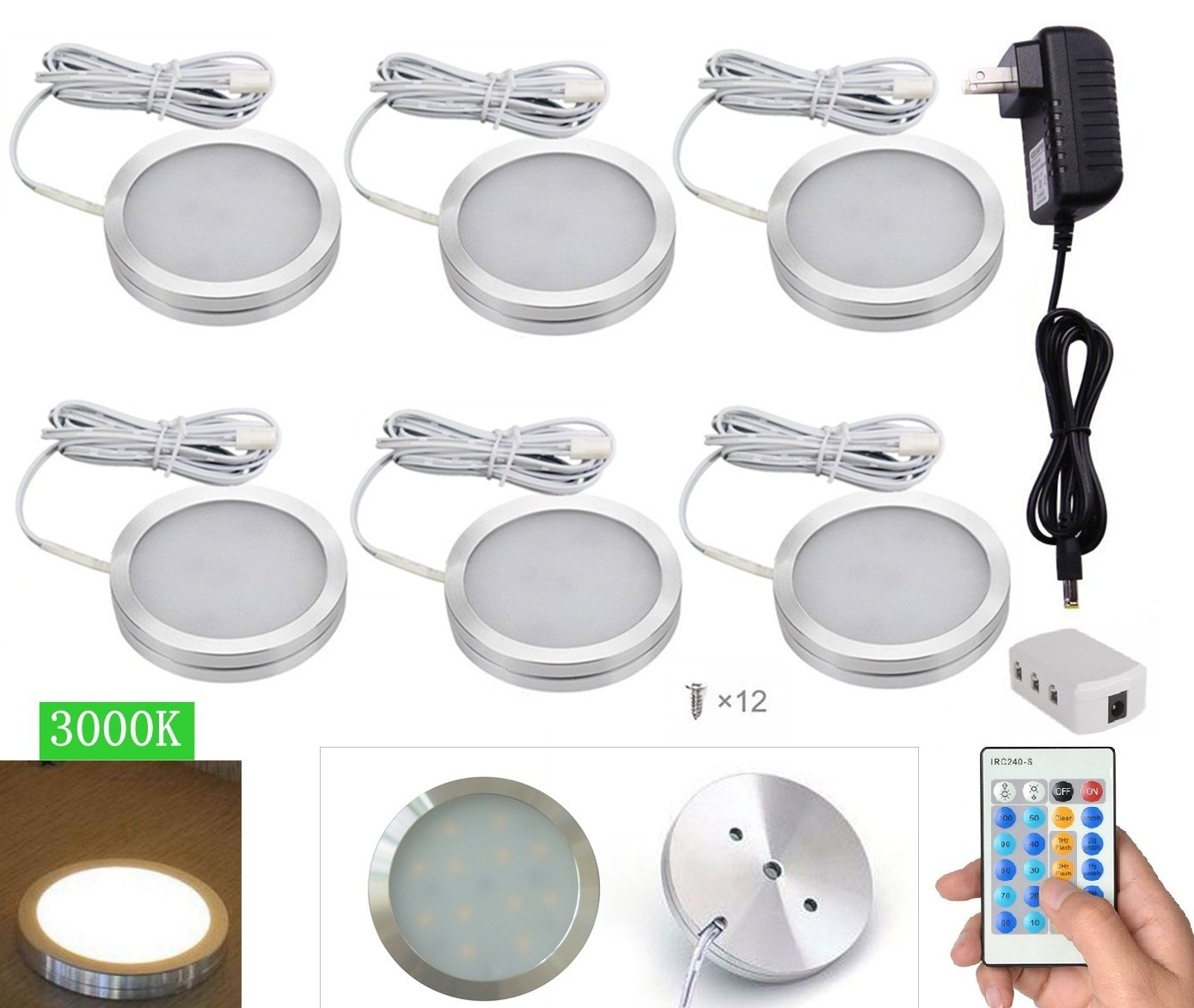 Xking 6 Pcs Warm White Dimmable LED Under Cabinet Lighting Kit, 12V12W / controllable: flash , strobe , fade
