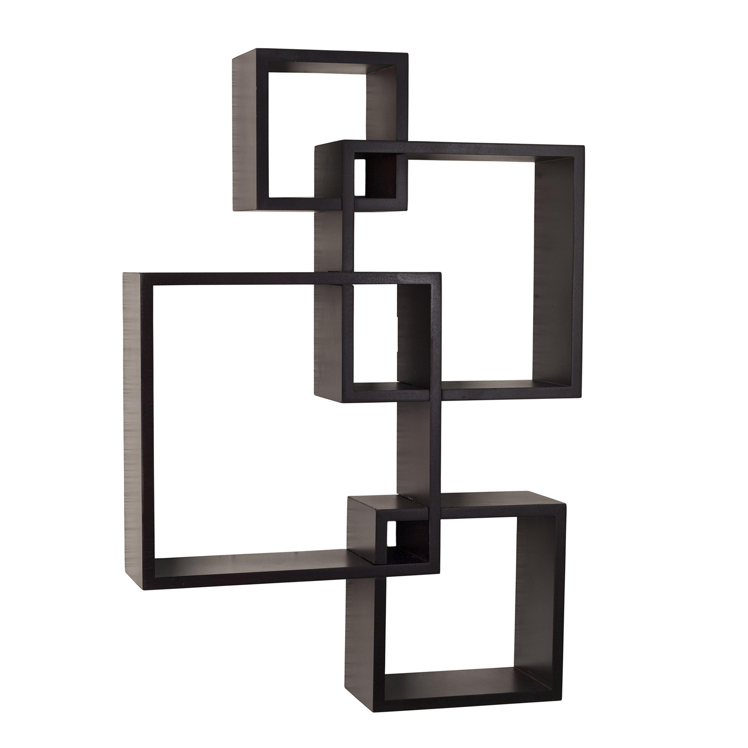 Danya B. BR1023ES Decorative Wall Mount Floating Intersecting Cube Accent Wall Shelf - Espresso
