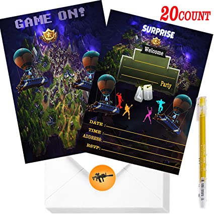 Game Birthday Invitations 20 Party Invitations And 20 Envelopes Gaming Party Supplies Decorations For Kids Adults Birthday Party Favors 1 Pack Pen