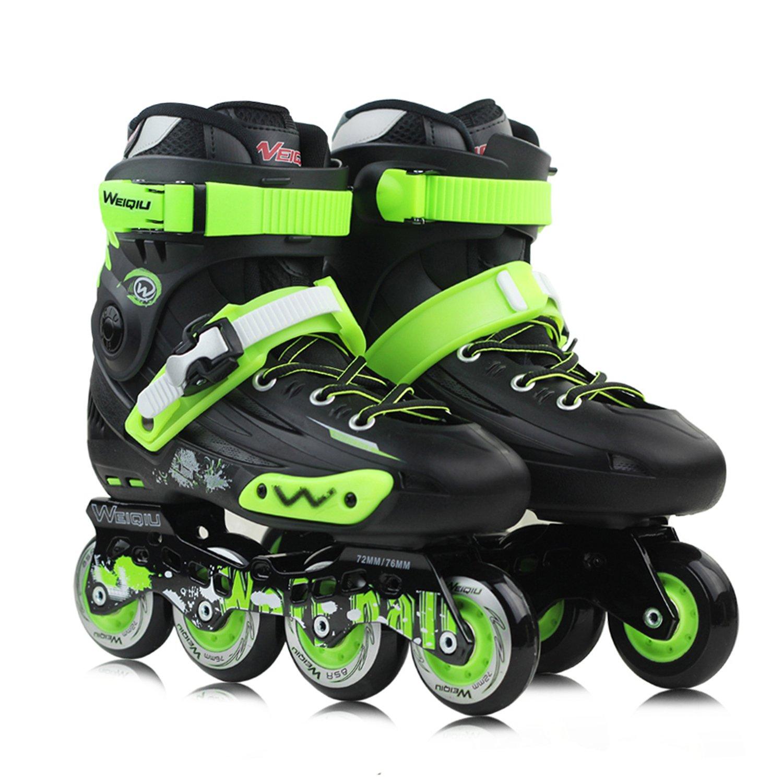 LIKU メンズ/レディース インラインスケート、パフォーマンスインラインスケート。 B07F1WLBNC  ブラック-グリーン Men 5,Women 6