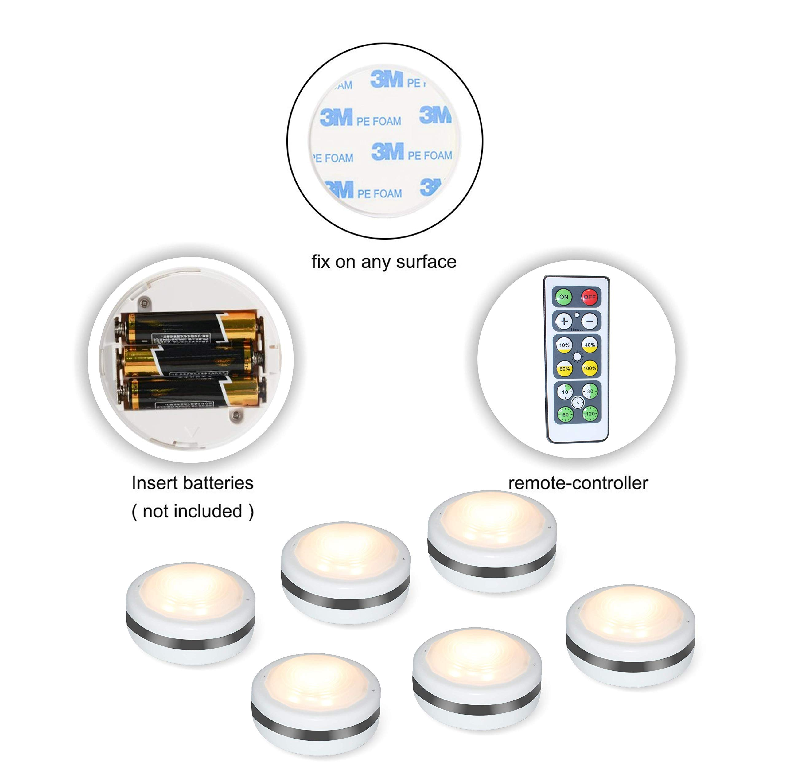 Puck Lights With Remote, Starxing Wireless Led Puck Lights Battery Operated, Led Puck Lights With Remote Control, Led Under Cabinet Lighting, Dimmable Closet Light, Battery Powered, 4000K Natural Whit by Starxing (Image #3)