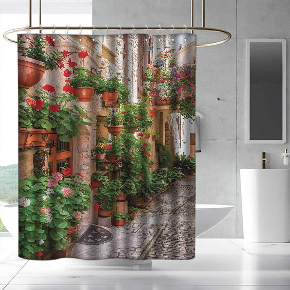 Italian Shower Curtain&Metal Hooks Street View of a Small Renaissance Town with Floral Porches and Rock Mediterranean for Master, Kid's, Guest Bathroom W108 x L72 Multicolor