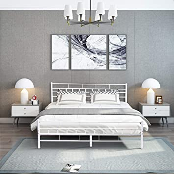 Giantex Platform Metal Bed Frame With Headboard Footboard Wooden Slat Support Mattress Foundation Queen