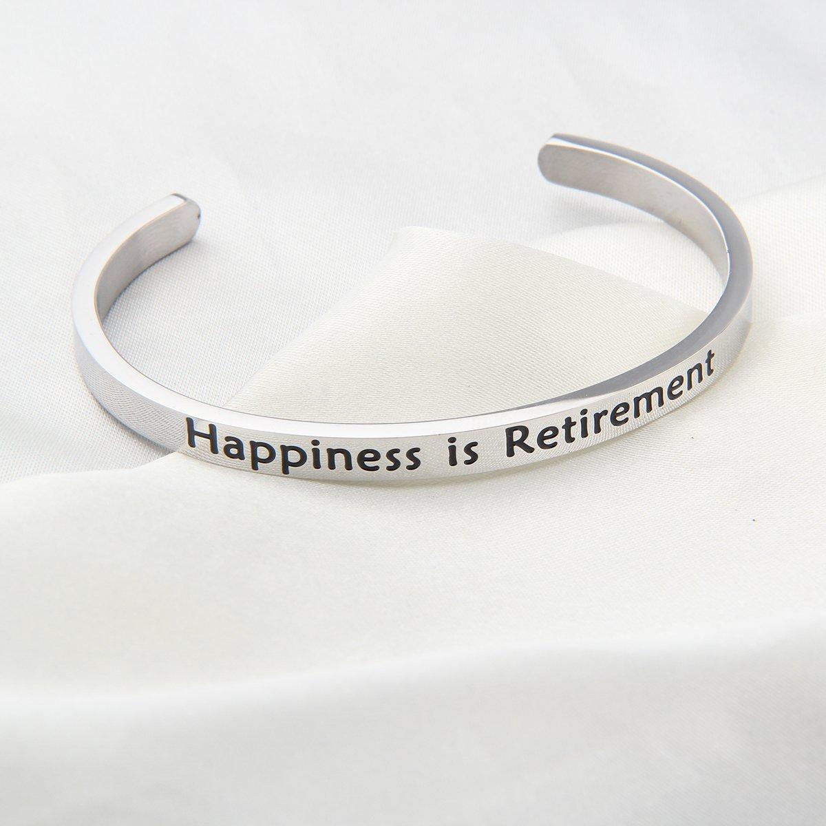 ENSIANTH Happiness is Retirement Cuff Bracelet Retirement Gift for Family,Teacher,Inspiration Gift for Thanksgiving