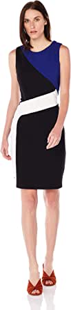 Calvin Klein Women's Colourblock Crepe Sheath, Black/White/Blue