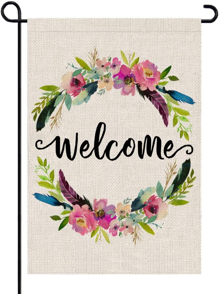 PARTY BUZZ Spring Summer Welcome Garden Flag with Wildflower and Bird Feather Patterns, Small Mini Yard Patio Lawn Decorative Flag (12 x 18, Double Sided)
