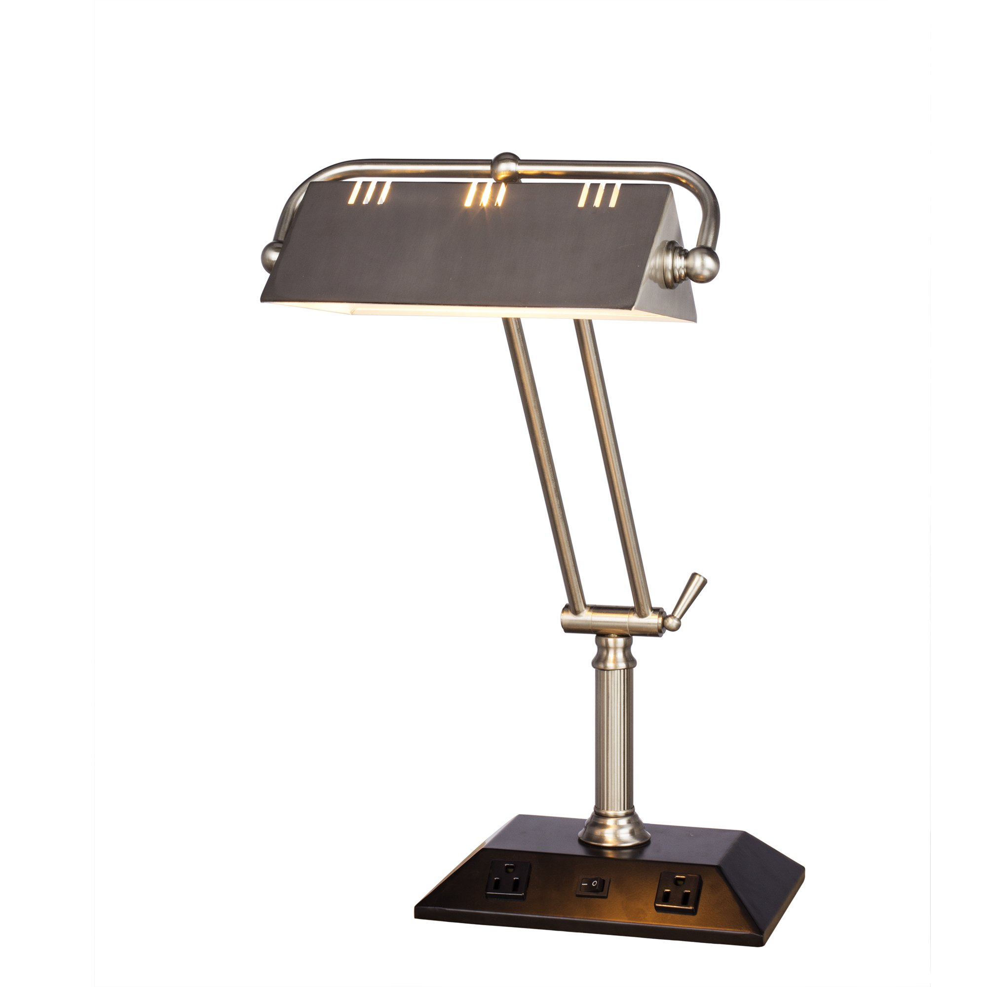 Fangio Lighting W-1122 BS #1122 BS 24 inch Adjustable Brushed Steel Tech Table Lampwith2 Base Outlets,
