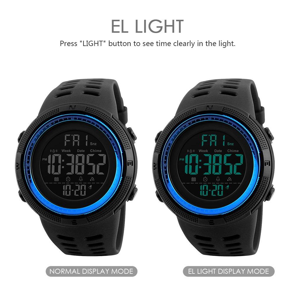 Amazon.com: SKMEI Digital Watches for Men Japanese Quartz Movement Backlight 50M Waterproof Rubber Strap Dress Watch Sport Wrist Watches: Watches
