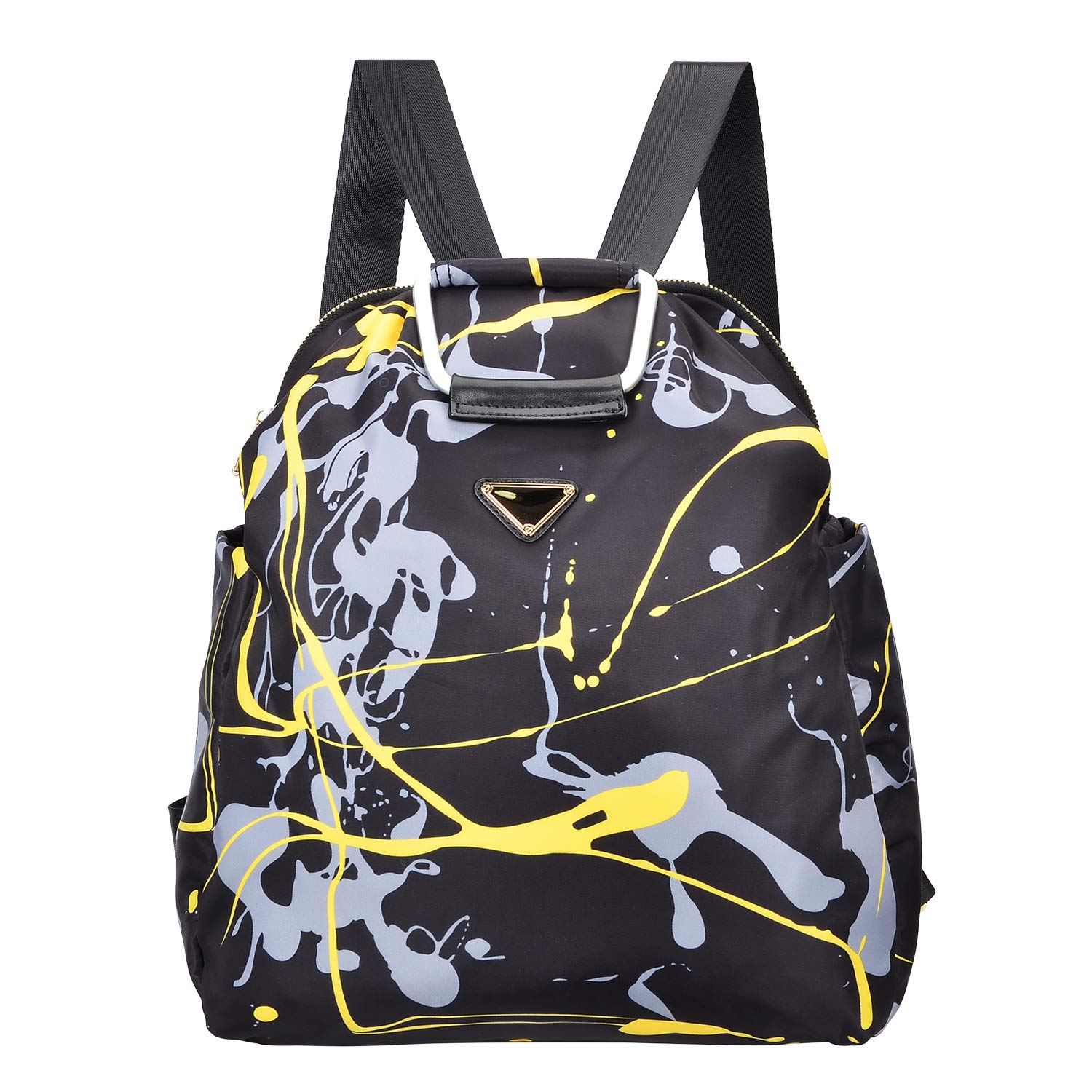 ALTOSY Water Resistant Fashion Metal Patch College Backpack Casual Daypack Unisex A32 Black//Golden US A32, Black//Golden