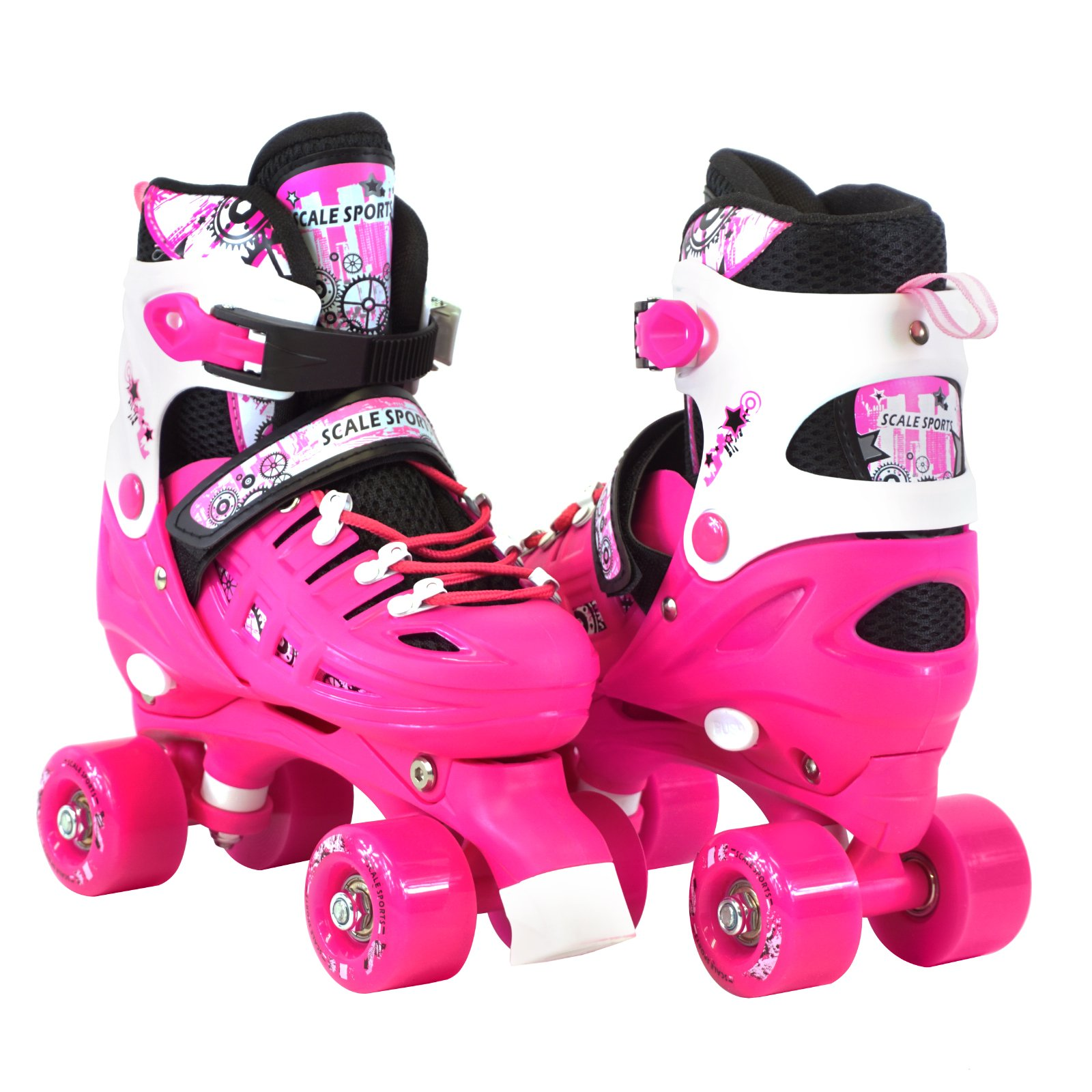 Scale Sports Adjustable Pink Quad Roller Skates For Kids Small Sizes
