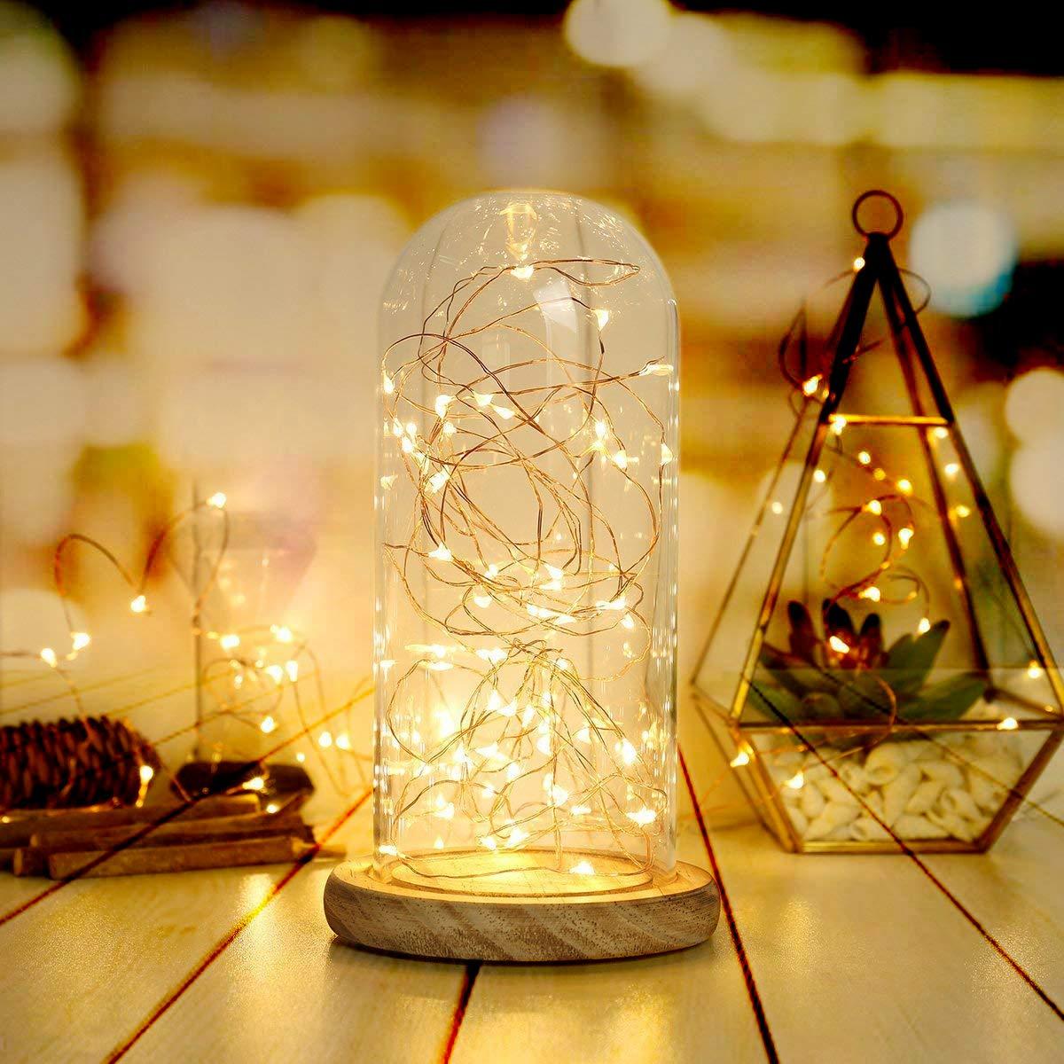 BXROIU 2 x 30er Micro LED Lichterkette AA Batterie betrieb und 2 Programm Auf 3 Meter Silberdraht für Party, Garten, Weihnachten, Halloween, Hochzeit, Beleuchtung Deko(30er Warmweiß)