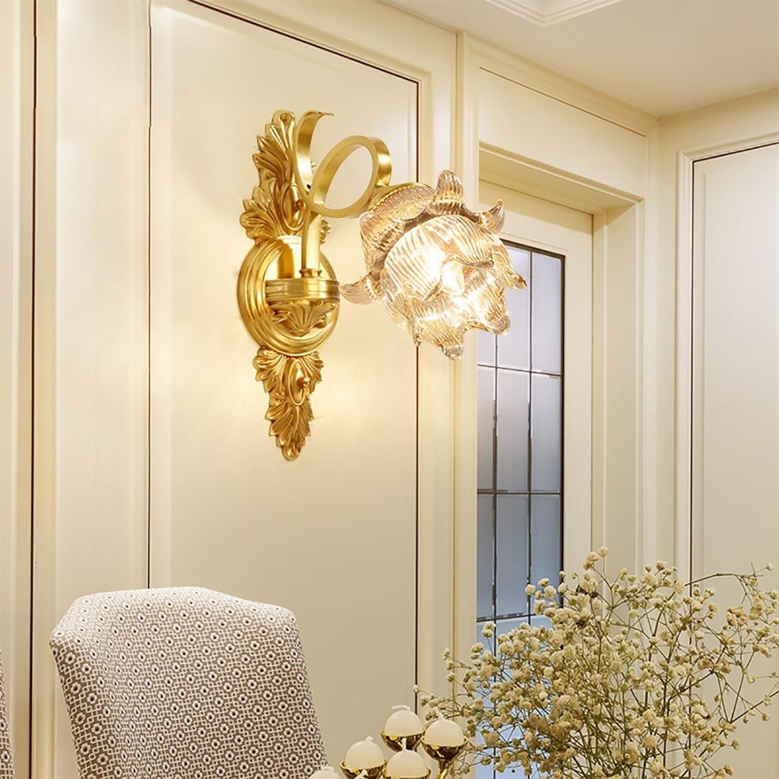 BENJUNToda la lámpara de pared de cobre Lámpara de pared de cristal de lujo Dormitorio lámpara de noche Iluminación del pasillo Lámpara de pared LED 33  15cm E14