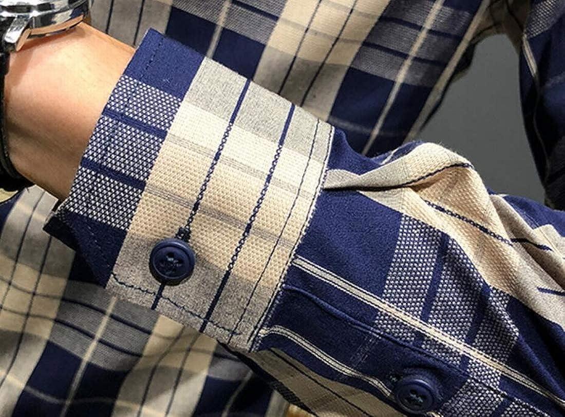 KLJR Men Button Down Regular Fit Long Sleeve Oxford Dress Shirts